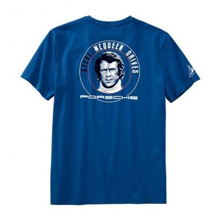 Tee-shirt PORSCHE Steve MCqueen drives bleu