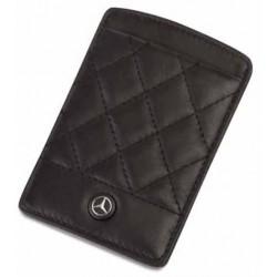 Porte-cartes plat MERCEDES cuir noir diamants
