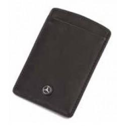 Porte-cartes plat MERCEDES cuir noir lisse