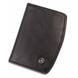 Portefeuille 2 volets MERCEDES cuir noir lisse petite taille