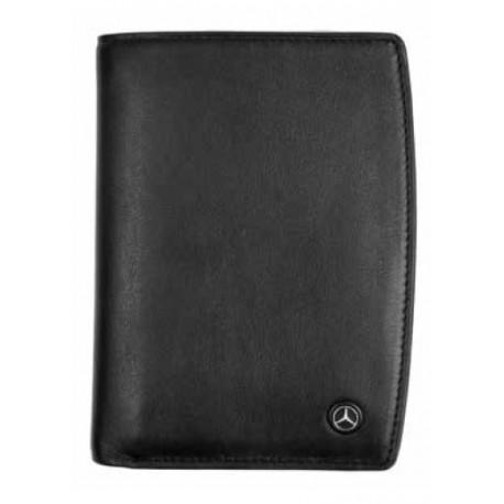 portefeuille 2 volets mercedes cuir noir lisse taille l six emplacements pour les cartes de cr dit. Black Bedroom Furniture Sets. Home Design Ideas