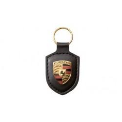 Porte-clés PORSCHE écusson cuir noir